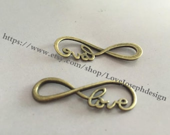wholesale 50 Pieces /Lot Antique Bronze Plated 18mmx38mm Infinity Love 8 Charm Link Connector(#090)