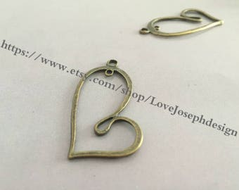 10 Pieces /Lot Antique Bronze Plated 20mmx41mm Irregular heart connector charms (#0297)