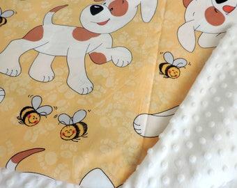 Minky Baby Boy Blanket - Yellow Dog Minky Blanket - Boy Minky Blanket - Car Seat Blanket - Receiving Blanket - Travel Blanket - Baby Shower
