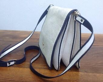 80s raffia Bag | Raffia handbag | Raffia Bag |  Vintage purse IP | Bag White Blue | Sailor style shoulder bag | straw bag