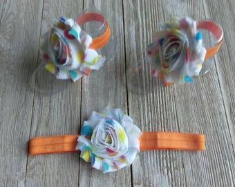 Baby barefoot sandals, infant sandals, shabby flower sandal, summer sandal, newborn flower sandal, elastic sandals, baby headband set