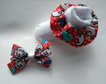 Dr. Seuss inspired birthday set, cat ruffle socks, character bow, infant ruffle socks, baby headban, birthday socks, Nursery rhyme bow, fish