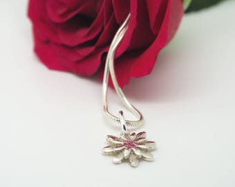 Handmade Fine Silver Hammered Flower Pendant Necklace on Sterling Silver Chain