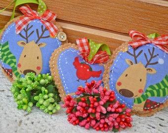 Felt Christmas Ornaments, Toys with Deer, Xmas Gift, Handmade Felt Heart, Christmas Gift, Fabric ornament, Hanging christmas decorations