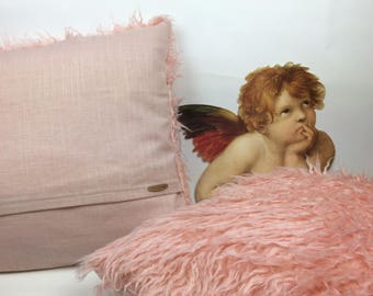 Cool faux fur pillow in pink