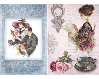 1 sheet of rice paper 21 x 28 cm decoupage collage COUPLE RETRO ROSE 531