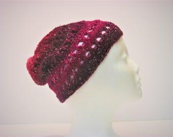 Dark Purple Light Purple Criss-Cross Slouchy Winter Hat (A15)