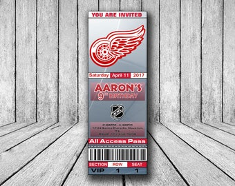 Detroit Red Wings Invitation,Detroit Red Wings Birthday Invitation, Hockey Invitation, Detroit Red Wings Team Invites