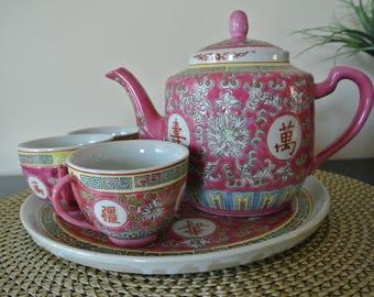 Chinese teapot - Mun Shou rose-porcelain China-