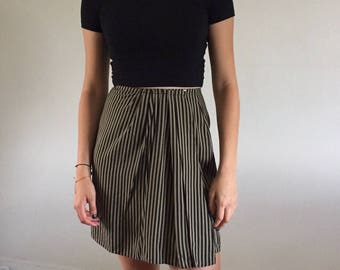 Vintage 90s Silk Wrap Skirt in Taupe & Black Pinstripes | 26W size 2/4
