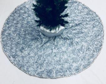silver tree skirt silver christmas tree skirt approximately 48 inch in diameter roses - Silver Christmas Tree Skirt