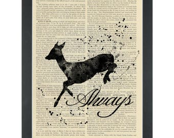 "Harry Potter Snape Doe Patronus ""always"" Dictionary Art Print"