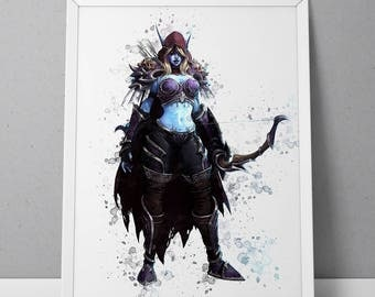 World of Warcraft poster, Heroes of the Storm poster, Sylvanas Windrunner print, Sylvanas Windrunner poster, game poster, N.001