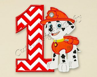 Paw Patrol Marshall First birthday applique embroidery design, Paw Patrol Machine Embroidery Designs, designs baby, Instant download #072