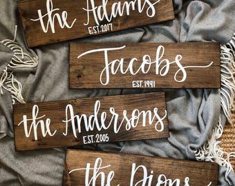 Last Name Wood Sign | Custom Family Sign | Personalized Wood Sign | Home Decor | Housewarming Gift | Wedding Gift | 18x5.5 |LittleLovelyNest