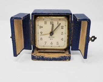 Vintage French Travel Alarm Clock SMI BIJOU, Art Deco Clock, Square Mini Mechanical Desk Clock, Rare Clock, Made in France Mid Century 1950s