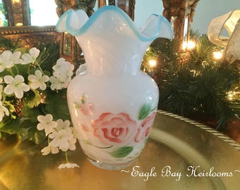 White Opalescent Swirl - Fenton Aqua Crest Vase - Ruffled Top - Hand Painted Pink Double Roses c 1940's