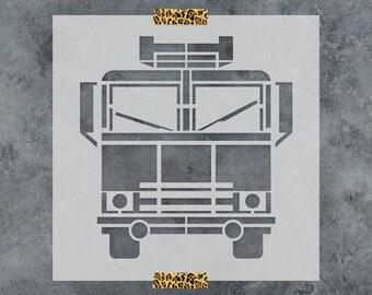 Fire Truck Stencil - Reusable DIY Craft Stencils of a Firetruck