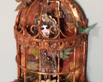 Steampunk Rusted Butterfly Fairy Birdcage Altered Art Mixed Media Assemblage