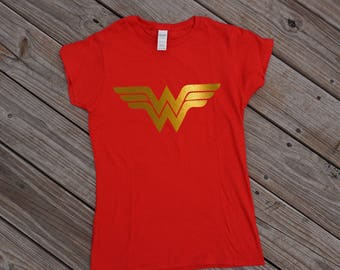 Wonder Woman Shirt, 2017 Justice League Wonder Woman Breastplate Emblem Gold on Maroon Red Shirt, Woman's Racer Back Tank Top, Size S-2XL