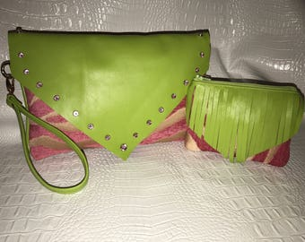 Pink zebra wristlet with green leather flap and matching mini coin purse