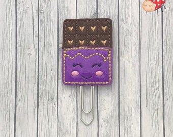 Chocolate bar planner clip, paperclip, office supplies, planner accessory, organiser accessories, embroidered, study, glitter, paperwork