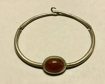 Vintage Alexis Kirk Designed Choker Necklace with Carnelian Cabochon Stone