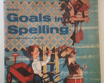 50s School Workbook. Unused 1960 Basic Goals in Spelling 1. Beautiful vintage elementary school based illustrations. Ephemera