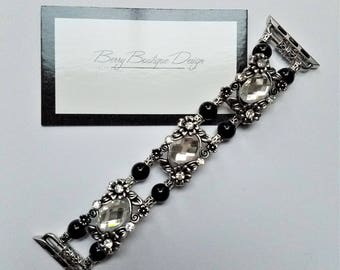 """Apple Watch Band 38mm, Apple Watch Band 42mm, Silver plated slider with crystal rhinestone & Glass Black Pearl, Style """"Those were the Days"""""""