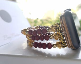 Apple Watch Band 38mm, Apple Watch Band 42mm, Apple Watch Band, Red & Gold Tone Beaded Watch Band, Apple Series I, Series 2 and Series 3
