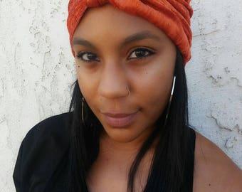 Orange Velvet Boho Glam Turban