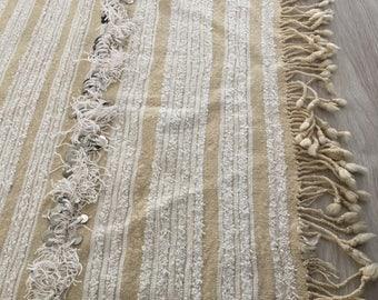 Minimalistic Handira Authentic Moroccan Berber Wedding Blanket