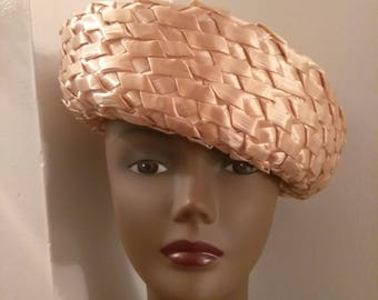 Vintage Beige Basket Weave Straw Hat, Mid Century Hat, Fashion Accessories, Boutique