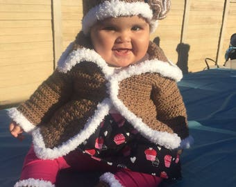 Sherpa-inspired Baby Girl Crochet Layette Set