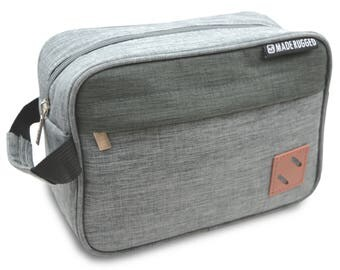 MADE RUGGED Toiletry Bag For Men, Work & Travel, Bathroom Wash Bag Tote (Two-Toned Grey)