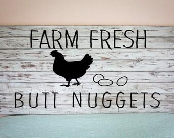Chicken Coop Vinyl Decal- Farm Fresh Butt Nuggets