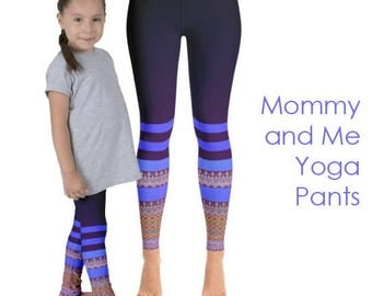 Mother Daughter Striped Yoga Pants; Matching Mommy and Me Yoga Leggings | striped pants | boho clothing | printed leggings | yoga clothes