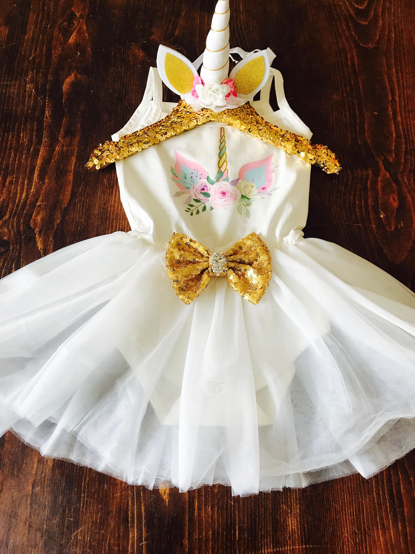 Birthday Girl Unicorn Glitter Tutu Dress First Birthday