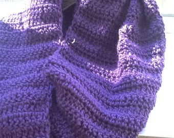 Handmade Crochet Infinity Scarf - Purple