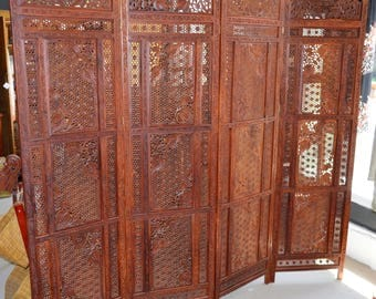 Privacy Screen, Hand Carved Solid Wood Privacy Screen, Oriental Privacy Screen