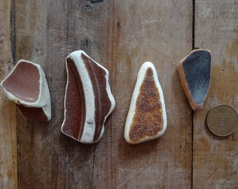 BROWN SEA POTTERY ~ Sea Tumbled Treasure ~ Sculpture Making Supplies ~ Mosaic Making ~ Art Supplies ~ Lucky Charms ~ Found Objects
