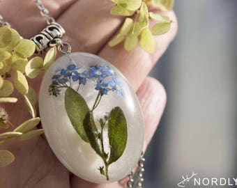 Forget me not necklace | Forget-me-not flower jewelry | Blue Flowers necklace | Forgetmenot flower | Real flowers jewellery Resin Necklace