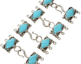 Sterling Silver Turquoise Three Strand Necklace Hook and Eye Set- Jewelry Supplies