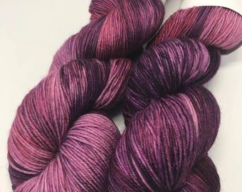 Hand Dyed Yarn Oddball Dark Purple Pink Variegated 100g Hank Approx 400m Sock 4Ply Fingering 100% Superwash Merino Mulesing Free