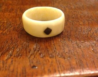 Walrus ivory & mastodon ivory ring