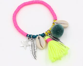 Boho Summer 2017 bracelet / / / pink polymer clay beads / cowry shells / neon yellow tassel / silver charm blue Pompom