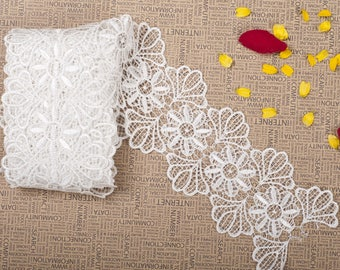 White Flower Eyelash Lace Fabric Lace Trim 3.46 Inches Wide 1 Yards/ Craft Supplies, WL581