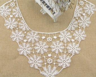 1 PC white Embroidered Flower Hollow Lace Collar Appliques Patch, WL570