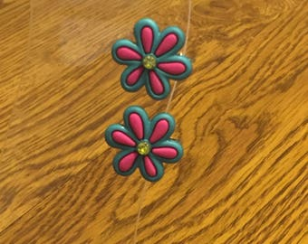 Teal and Pink flower earrings