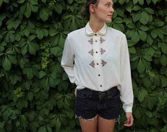 Vintage Chiffon Button Up With Embroidery and Unique Buttons